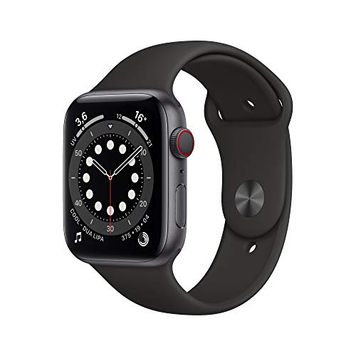 Apple Watch Series 6 (GPS + Cellular, 44mm) Space Gray Aluminum Case - Black Sport Band