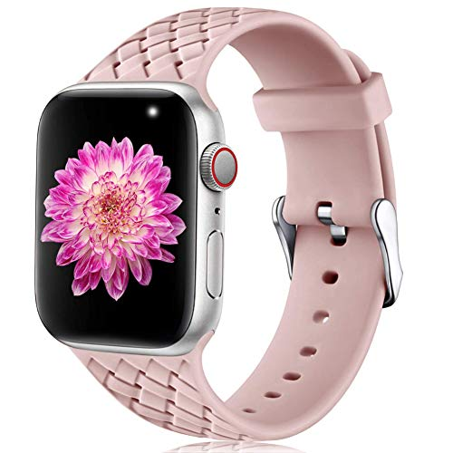 Oielai Compatible with Apple Watch Strap 38mm 40mm 42mm 44mm, Waterproof Soft Silicone Fabric Sports Replacement Straps for Iwatch Series 5 6 4 3 2 1 SE, Women Men, Small Pink Sand