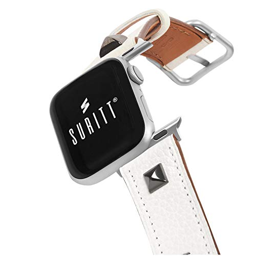 Suritt ® Apple Watch Leather Strap Oslo 3 Buckle Colors and Adapter to Choose (Black - Silver - Gold) (Series 6, SE, 5, 4, 3).  (38mm - 40mm, White / Silver)
