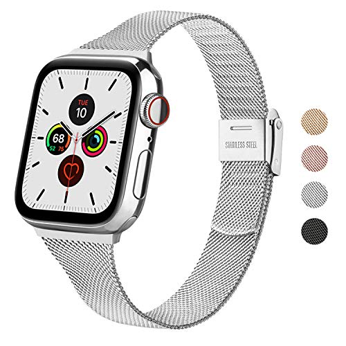 Wanme Strap Compatible with Apple Watch Strap 44mm 42mm 40mm 38mm, Narrow and Thin Stainless Steel Replacement Bracelet Metal Buckle for iWatch Series 6 5 4 3 2 1 SE (38mm / 40mm, Silver)