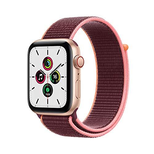 Apple Watch SE (GPS + Cellular, 44mm) Gold Aluminum Case - Plum Sport Loop
