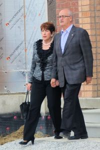 Liviana and Julian Fantino arriving for the Stephen Harper press conference.