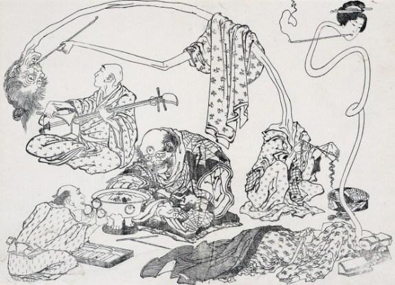 """Uma das gravuras de Hokusai. O gravurista também é autor da """"Grande Onda de Kanagawa""""."""