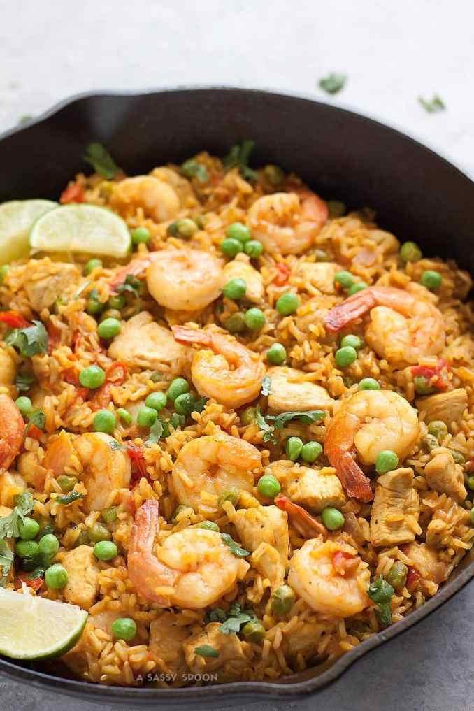Healthy Chicken & Shrimp Paella - A Sassy Spoon