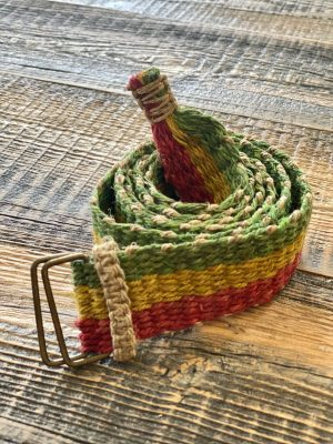 Boho Hemp Belt Red Yellow Green