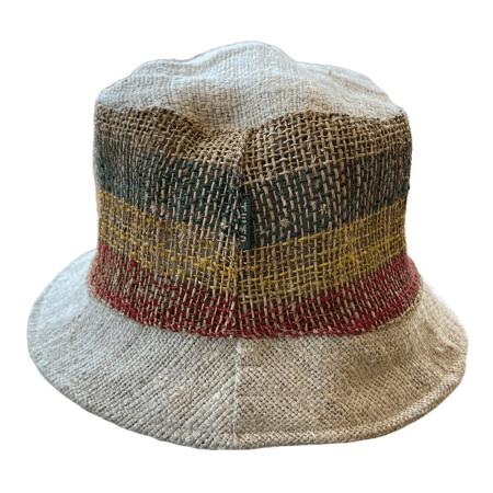 Hemp Bucket Hat - Yellow Green Red Stripe