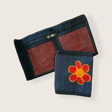 Hemp Bi-fold Wallet - Red Blue Flower