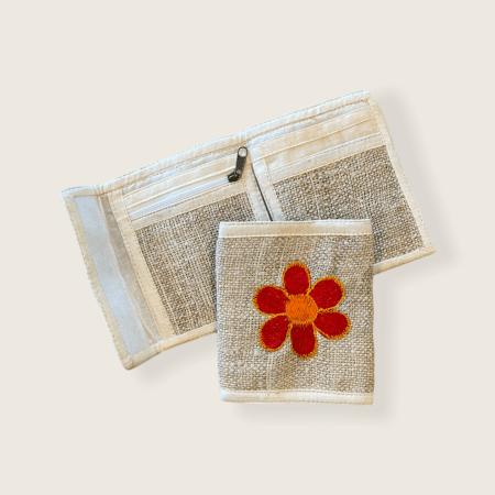Hemp Bi-fold Wallet - Red Yellow Flower