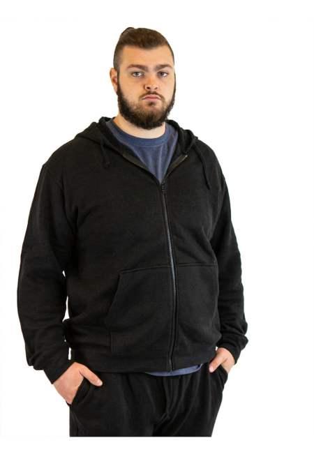 Men's Hemp and Organic Cottons Zip Hoodie- Black