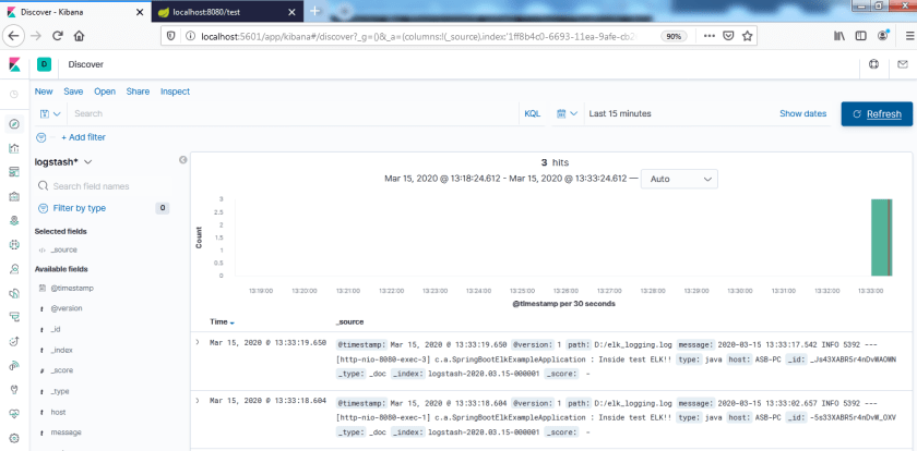 Spring boot ELK stack example.
