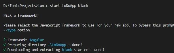 Ionic 5 create new angular app