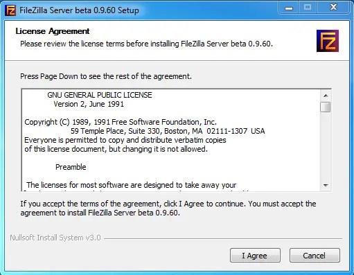 FileZilla server setup on windows