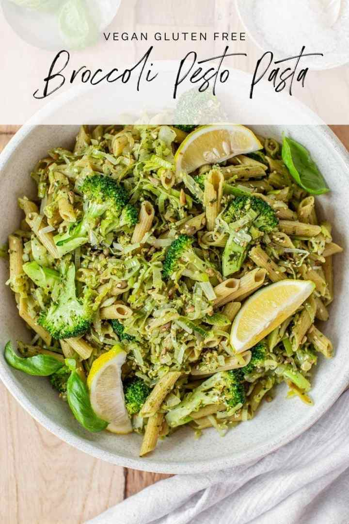 Freshly made broccoli pasta in a bowl to serve a family