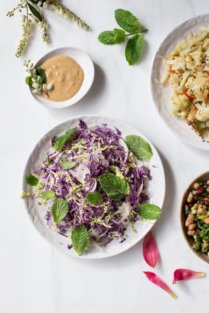 Slaw with Probiotic Miso Tahini Dressing