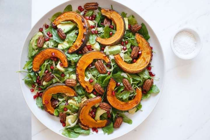 Squash Salad with Maple Spiced Pecans