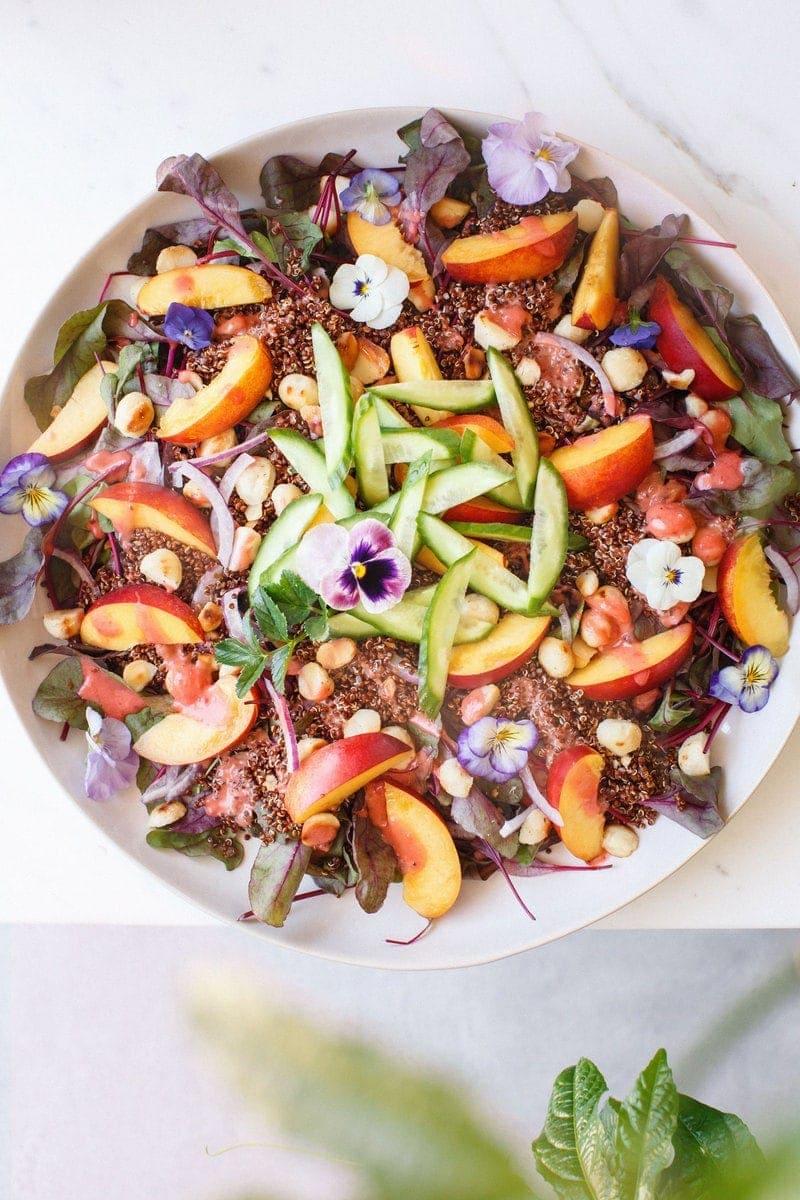 Nectarine Salad with Raspberry Balsamic Vinaigrette