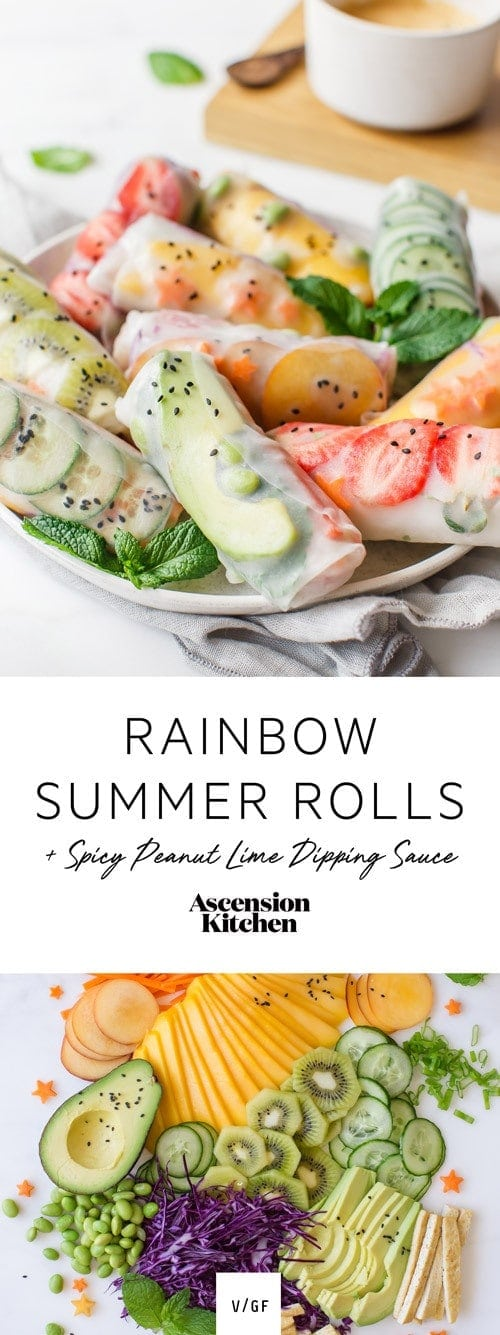 Beat the heat with these antioxidant-packed Rainbow Summer Rolls with Spicy Peanut Lime Dipping Sauce. A deliciously vegan recipe.