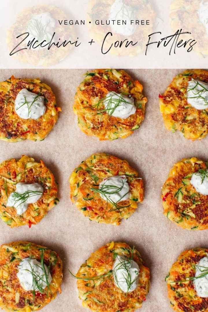 Tray of freshly cooked zucchini and corn fritters