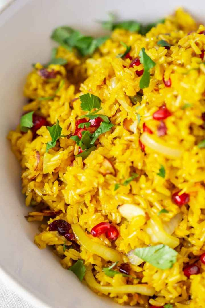 Close up of jewelled saffron rice