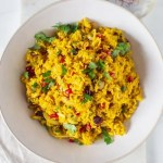 Large bowl of saffron rice