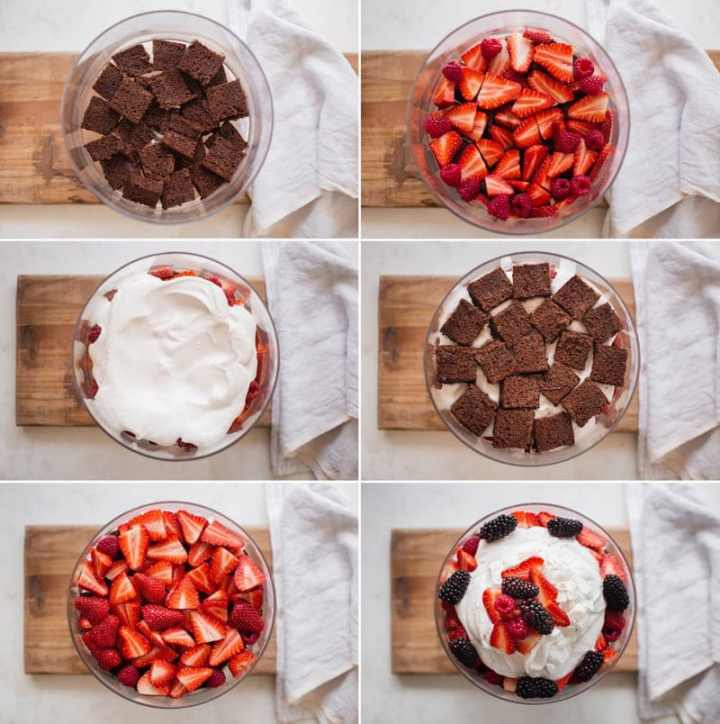 Series of six images showing what order to layer ingredients in a trifle recipe