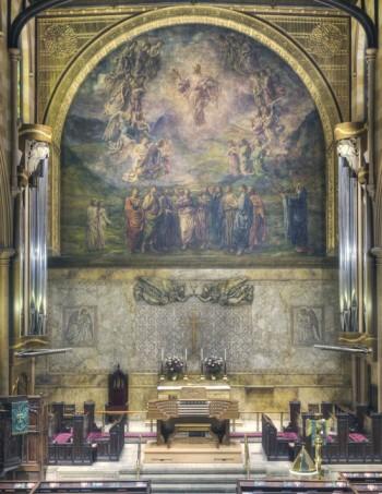 Chancel, organ console, altar and mural