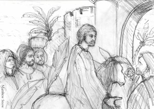 Drawing of Jesus entering Jerusalem