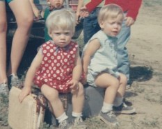 Kathy (right) and I, as grumpy toddlers!