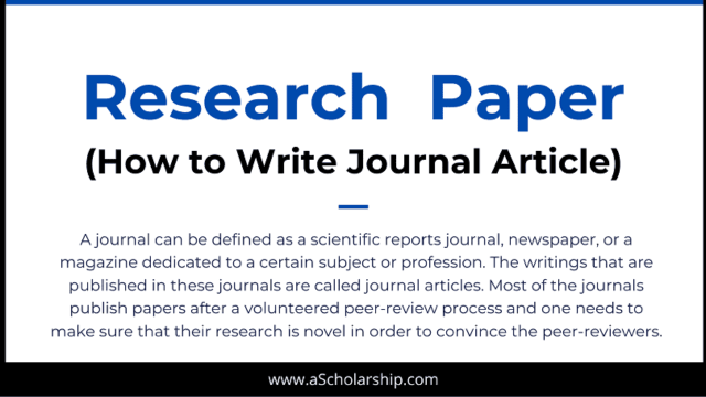 27 Tips in Writing a Scientific Research Paper: Journal Paper