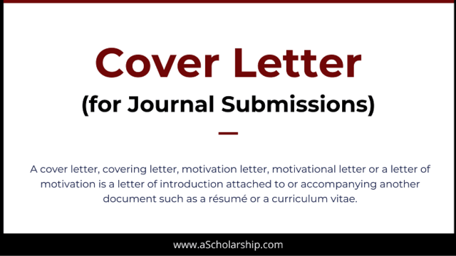Cover Letter for Manuscript Submission to a Journal: Cover Letter