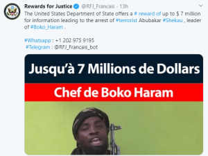 US Department of State offers $7m reward to anyone with information that will lead to Boko Haram leader, Abubakar Shekau's arrest 1