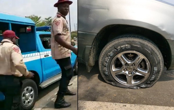 FRSC officials allegedly puncture tyre of a car driven by a lady rushing a pregnant woman in labour to the hospital (video) 1