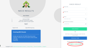 How To Register an Account on NECO Results