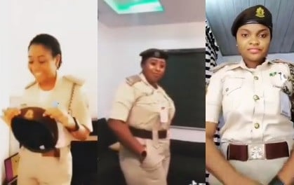 Female officers of the Nigeria Immigration Service queried for partaking in #Bopdaddychallenge (Video) 1