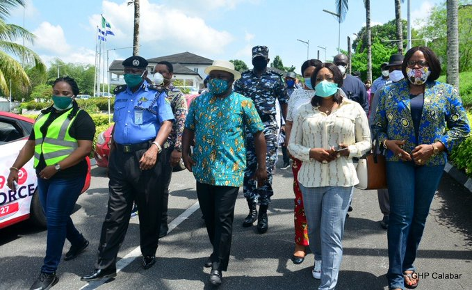 Photos of Gov Ben Ayade consistently matching shirt with facemask as FG encourages local production 3