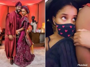 Adesua Etomi Grabs Her Husband Banky W, As She Watches Him Play FIFA Game During Quarantine (PHOTOS) 6