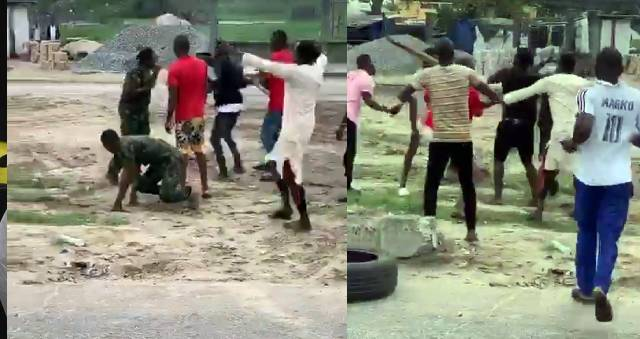 (video) Nigerian Army and Warri youths clashes as youths Beats up a Soldier for shooting their Colleague