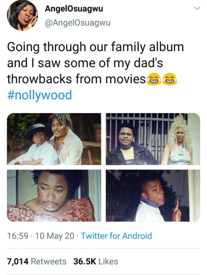 The tweet quickly went viral with over 7,000 retweets and more than 36,000 likes as Twitter users reacted      Some spoke about Victor's legacy, others expressed surprise that he has a grown daughter.     Below are photos of Victor Osuagwu's daughter, Angel Osuagwu.