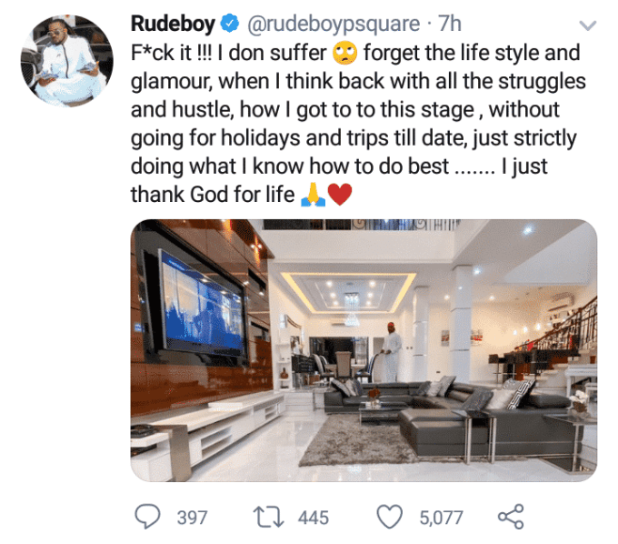 """""""Forget the lifestyle and glamour, I don suffer"""" – Rudeboy says as he shares photo to motivate his fans"""