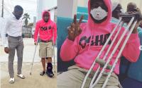 Davido fractures his leg, now using crutches (photos)