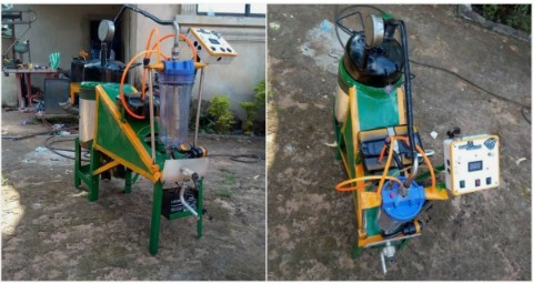 Check Out Brilliant! Nigerian man invents machine that transforms nylons and plastics into petrol (photos)