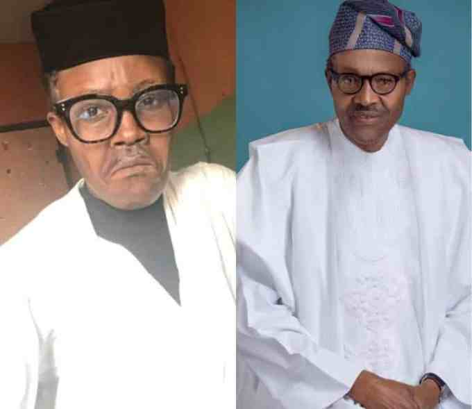 WOW... Nigerians react as talented makeup artist paints her face to look like Buhari (Photos) 1