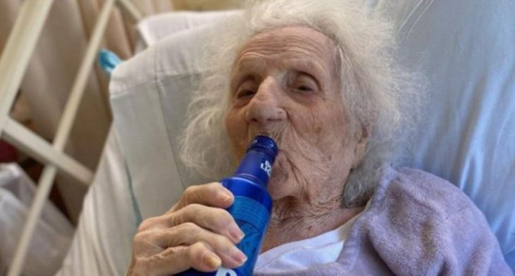 103-year-old woman celebrates Covid-19 recovery with a cold beer