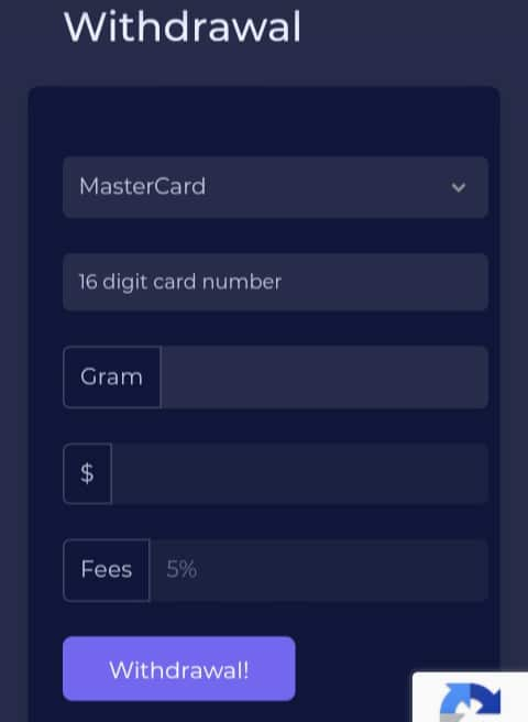 Gramfree Withdrawing Options
