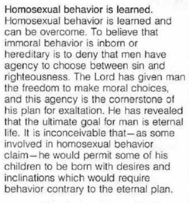 Homosexual behavior is learned Mormon Leaks Mormonism Church of latter day saints