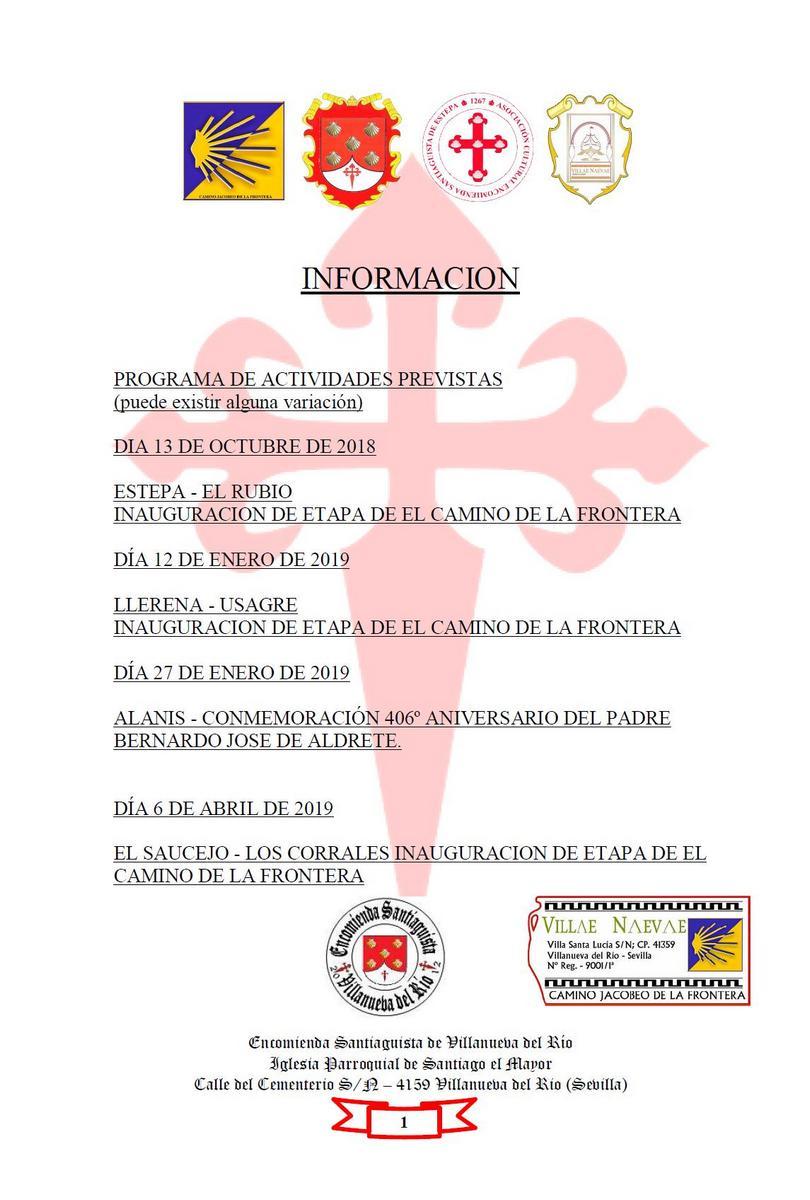 PROGRAMA DE ACTIVIDADES PREVISTAS DE LA ENCOMIENDA SANTIAGUISTA DE VILLANUEVA DEL RÍO