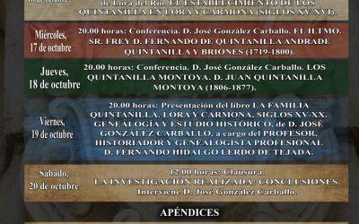 """PRIMERAS JORNADAS """"HISTORIA LOCAL Y FAMILIAS LOREÑAS: LOS QUINTANILLA"""""""