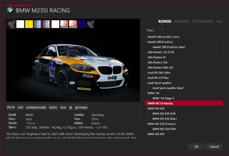 Car selection, Kunos category