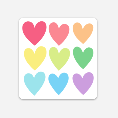 Rainbow Hearts Sticker Mockup