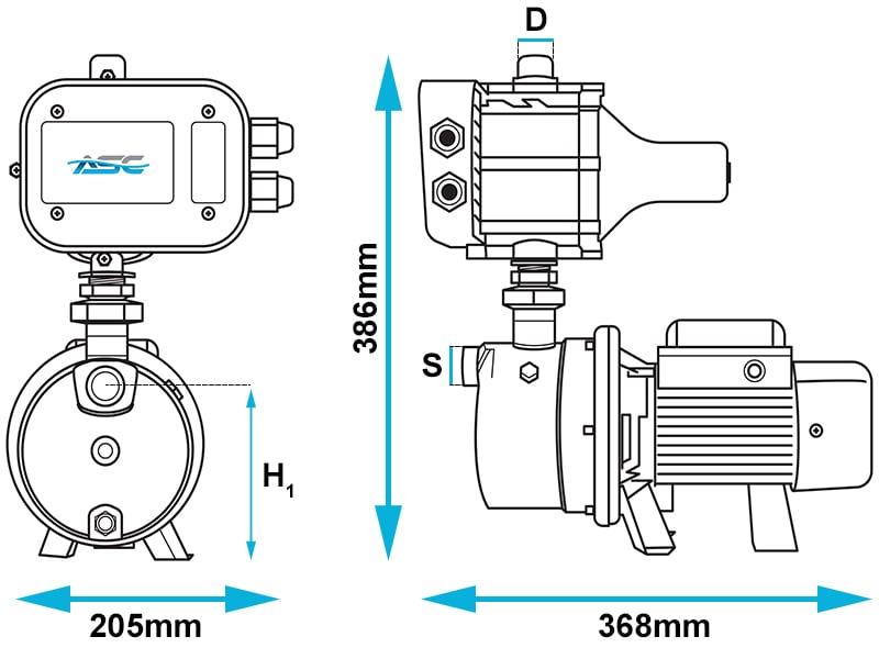 ASC J48/65 JET Domestic Pump Dimensions